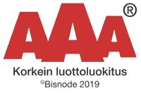 Korkein luottoluokitus AAA 2019 Mustekasetti.com