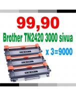 Brother TN-2420 musta 3000 sivua x 3 = 9000 sivua Mustekasetti.com