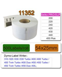 Mustekasetti.com-tarvike, non-OEM Dymo 11352 Seiko osoitetarra 25mm x 54mm, 500 kpl
