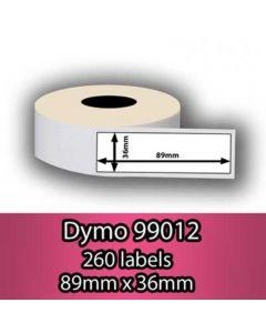 Mustekasetti.com-tarvike, non-OEM Dymo 99012 Seiko osoitetarra 89mm x 36mm, 520 kpl
