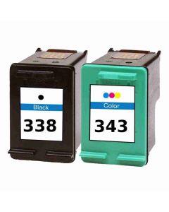 HP SD449EE musta HP 338 18ml ja HP 343 3-väri 18ml Mustekasetti.com
