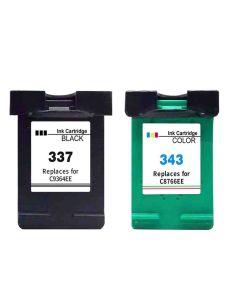 HP C8766EE, HP 343 3-väri 18ml + HP 337 musta 20ml, Mustekasetti.com