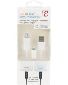 USB-synkronointi/latauskaapeli LED-valoilla + Apple Lightning