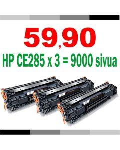 HP CE285A musta Jumbo 3000 sivua x 3 = 9000s sivua Mustekasetti.com