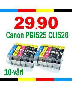 Canon 4541B006 CLI-526/PGI-525 10-pakkaus CMYKK x 2 Mustekasetti.com