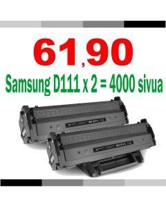 Samsung MLT-D111S musta JUMBOXL 2000 sivua x2 = 4000 sivua Mustekasetti.com