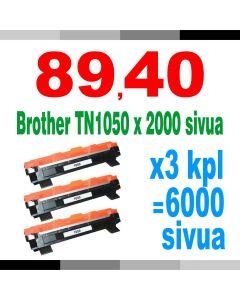Brother TN-1050 musta 2000 sivua x 3=6000 sivua Mustekasetti.com