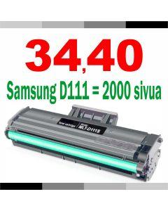 Samsung MLT-D111S musta JUMBOXL 2000 sivua 2x enemmän Mustekasetti.com