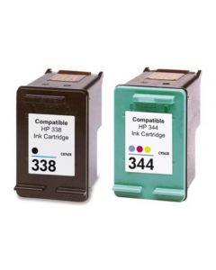 HP C8765EE musta HP 338 ja 3-väri HP 344 Mustekasetti.com