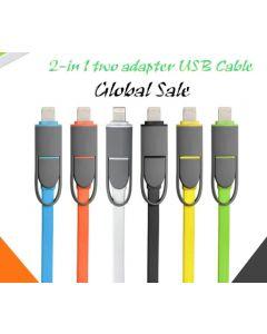 2-in-1-synkronointi- ja latauskaapeli, USB 2.0 - Lightning ja MikroUSB 1 m magenta